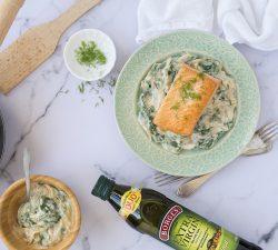 Recept Losos se špenátem, kvalitný olivový olej Borges
