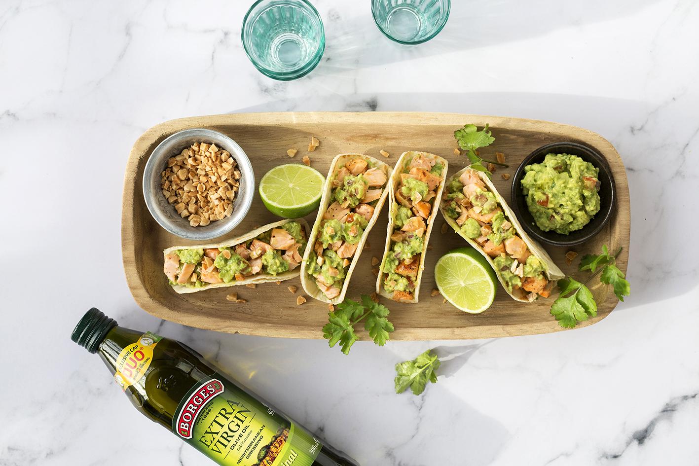Tacos s lososom a guacamole